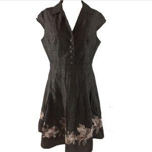 Adrianna Papell silk black party formal work dress
